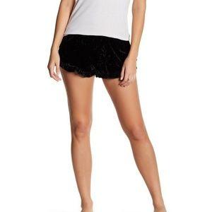 Free Press Crushed Velvet Ruffle Shorts L
